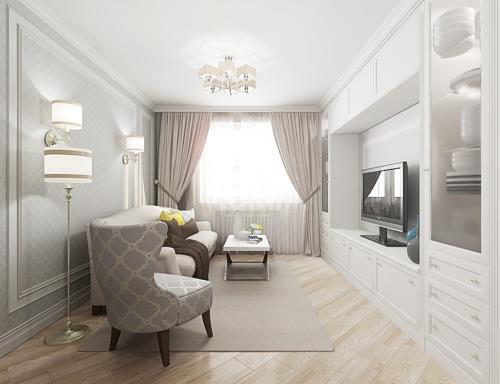 Белая-гостинная-в-двухкомнатной-квартире